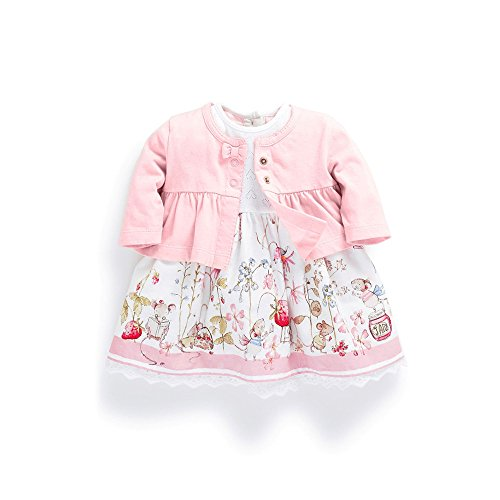 FERENYI Baby Girl's Clothes Long-Sleeved Jacket with Floral Dress Sets (4-10 Months) Pink