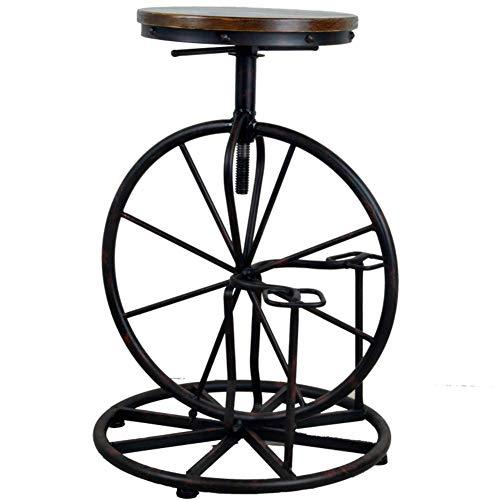 Cxcdxd Taburete de Bar Giratorio, Asiento Redondo de Madera Maciza, sillas de Bar Vintage con Altura Ajustable, sillas de Taburete de Barra Industrial de diseño de Bicicleta Americana A