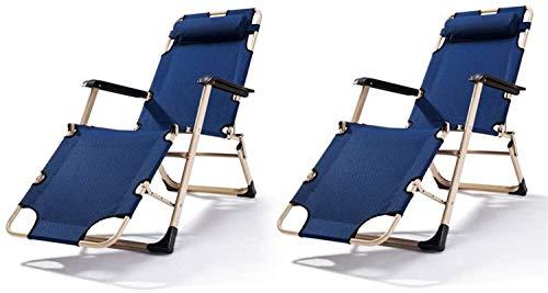Sillón Soles de la tumbona Sillas de jardín plegable de 2 tumbonas reclinadas plegables, silla al aire libre portátil de gravedad de la gravedad de la playa Cama reclinable para el patio, el jardín de