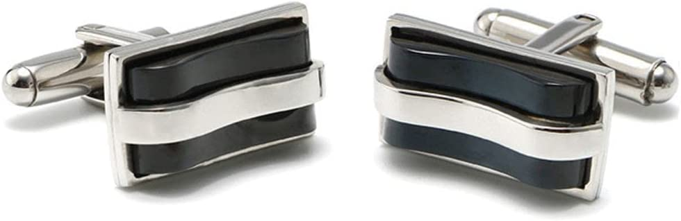 BO LAI DE Men's Cufflinks Black Curved Opal Square Cuff Links Suitable for Business Events, Meetings, Dances, Weddings, Tuxedos, Formal Wear, Shirts, with Gift Boxes