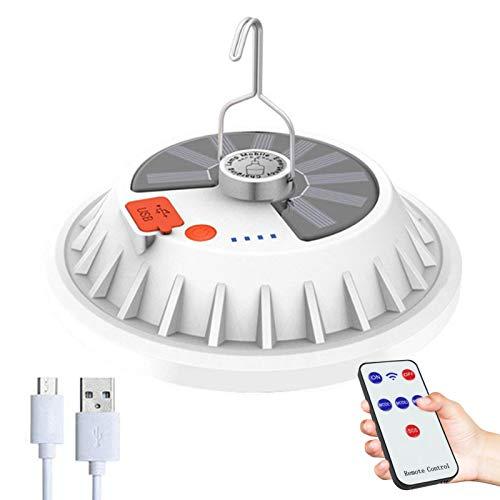 arbitra Linterna de camping LED, luz solar LED recargable por USB, con función de control remoto puede colgar 5 modos, IPX7 impermeable camping luz móvil energía camping luz