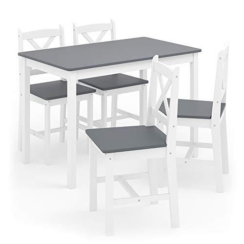 Vicco Esszimmerset Alara Tischgruppe Massiv Holz Essgruppe Esstisch Weiß Grau (Weiß Grau)