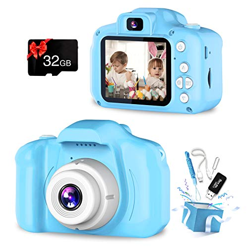 Kids Camera, Dual Lens Selfie Camera for Kids, Best Birthday Gifts for Boys Age 3-12, 1080P HD Digital Video Cameras for Toddler, Toys for 3 4 5 6 7 8 9 10 Year Old Boy with 32GB SD Card (Blue)