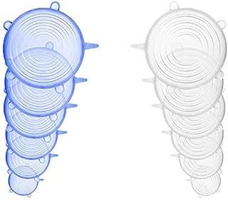 Da.Wa 12 Pcs Tapas Silicona Ajustables Tapas de Silicona Elásticas de Almacenamiento de Alimentos Sellada Transparente para Contenedores de Todos los Tamaños y Formas