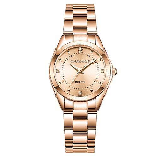 Mujer Relojes, L'ananas Clásico Elegante Diamante de imitación Acero Inoxidable Correa de Reloj Cuarzo Relojes de Pulsera Women Watches Wristwatches (Oro Rosa)