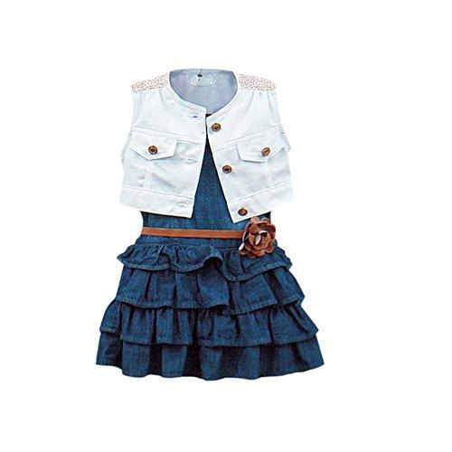 BOBORA vestino di jeans denim a pieghe, giacca in jeans, cintura con fiore cintura, per bambina, 2-6 anni Blue 80 cm