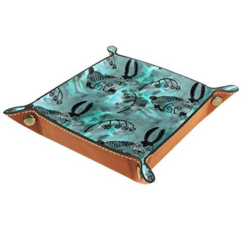 Chuangxin Mysterious Forest - Caja de almacenamiento de piel de microfibra plana para suministros de oficina, papelería de escritorio, artículos de artículos de artículos de sol, 20,5 x 20,5 cm, multicolor, 16x16cm