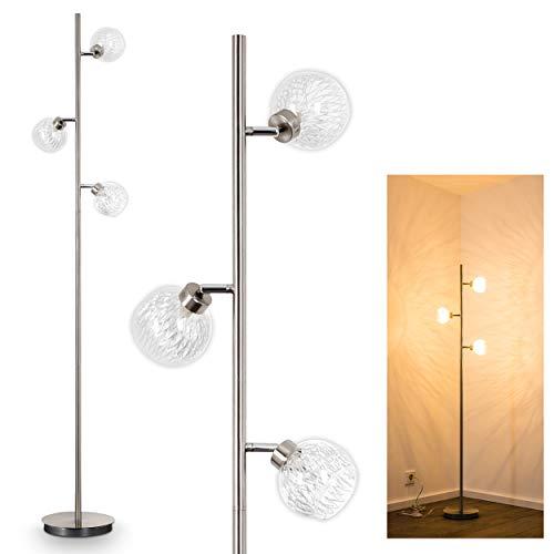Vloerlamp Iskura's, moderne vloerlamp van metaal in mat nikkel, met instelbare glazen kappen, 3 vlammen, 3 x G9 max. 40 watt, met voetschakelaar op kabel, geschikt voor LED-lampen