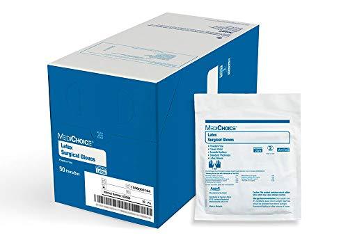 MediChoice Surgical Glove, Latex, 8.7 mil Thick, Powder Free, Sterile, 7.5 Medium, Cream, 1314SGL65075 (Box of 50 Pairs - 100 Total)