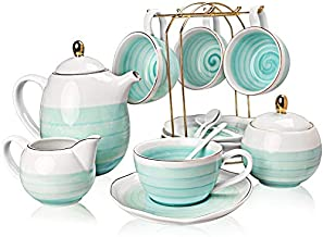 SWEEJAR Porcelain Tea Sets,8 oz Cups and Saucer Teaspoon Set of 4, with Teapot Sugar Bowl Cream Pitcher and tea strainer for Tea/Coffee,Afternoon Tea Party (Blue2)