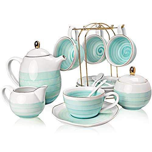 Why Should You Buy Sweejar Porcelain Tea Sets,8 oz Cups and Saucer Teaspoon Set of 4, with Teapot Su...