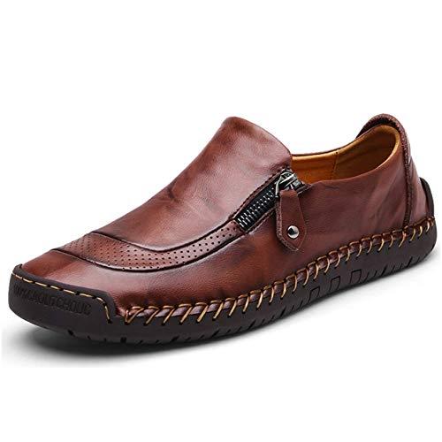 Mocasín de Cuero para Hombre Zapatos cómodos y Ligeros de Punta Redonda Pisos Mocasines Antideslizantes Zapatos de Trabajo de Negocios más amplios Tamaño Grande (44.5 EU, Marron Oscuro)