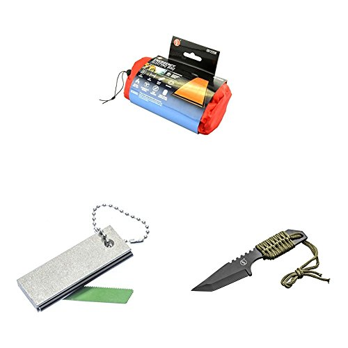 SE EB122OR Emergency Sleeping Bag Kit with Drawstring Carrying Bag, Orange, Survial Blanket with Fire Starter and Knife