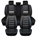 ASSIALL Fundas para asientos de automóvil New Gen Universal Faux PU Leather 5D Full Surround Impermeable Protectores resistentes al desgaste (negro con costuras azules, Juego completo)