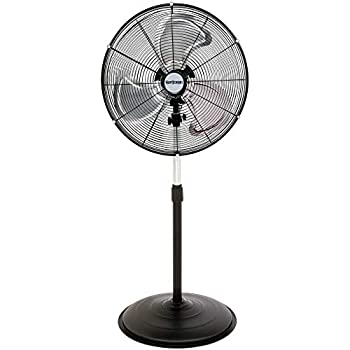 Hurricane Stand Fan - 20 Inch Pro Series High Velocity Heavy Duty Metal For Industrial Commercial Residential & Greenhouse Use - ETL Listed Black