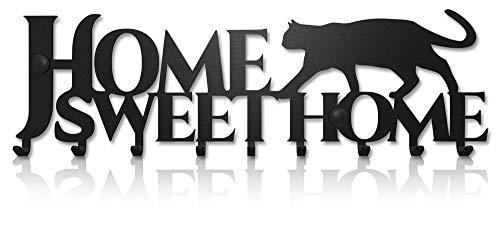 M-KeyCases Cuelga Llaves Pared Colgador Sweet Home Gato (10 Ganchos) Guardallaves Decorativo Ganchos de Metal para Cocina, Puerta de Casa | Portallaves Perchas Organizador | Decoración Vintage
