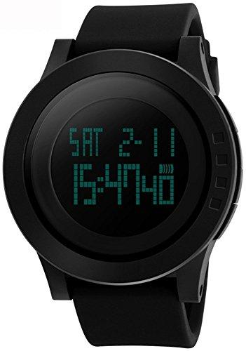 Qingmei Orologio sportivo da uomo multifunzione al quarzo con allarme EL Light 12/24 ore cronografo impermeabile SK1142 nero
