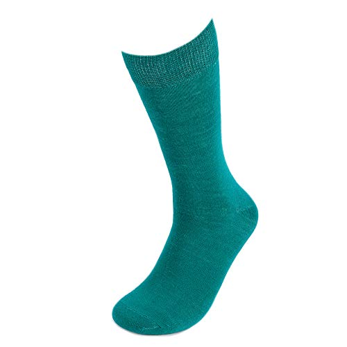 Feraricci Solid Color Polyester Socks for Men, Casual and Formal Attire Mid Rise Men's Crew Socks - Teal
