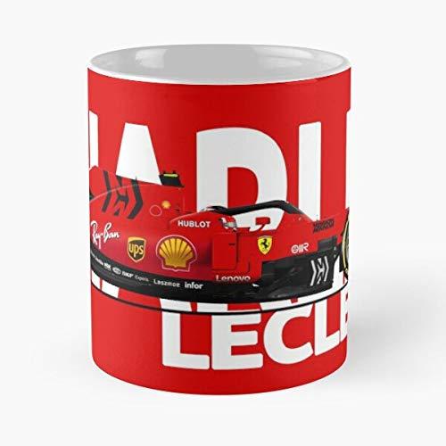 Auto Charles Leclerc Grand F1 Sf90 Prix Racing I - La mejor taza de café de cerámica de mármol blanco de 11 oz