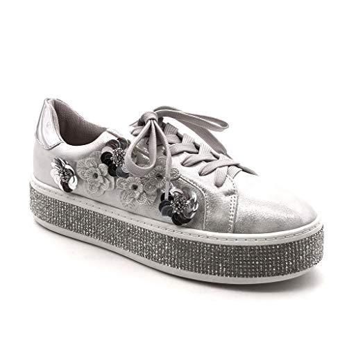 Angkorly - Damen Schuhe Sneaker - Tennis - Plateauschuhe - Strass - Blumen - Glänzende Flache Ferse 4 cm - Silber GQ17 T 40