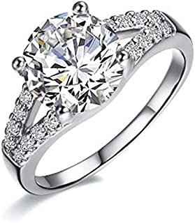 BQZB Anello Anello di Fidanzamento in Argento Sterling 925 a Forma di Braccia tonde a Due Fasce Anello di Nozze con Diaman...
