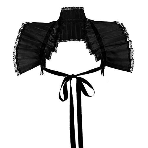 GRACEART Victoriano Volante Fruncido Cuello Bolero Collar (Negro)