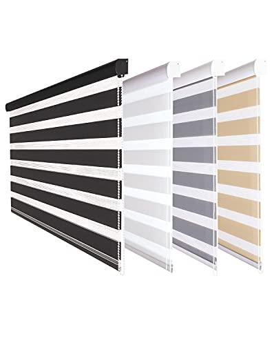 Fensterdecor Doppel-Rollo mit Aluminium-Kassette, Rollo für Fenster mit seitlichem Kettenzug, Seitenzug-Rollo mit Blende in Schwarz für Innen-Bereich, lichtdurchlässig u. verdunkelnd, 100 x 230 cm
