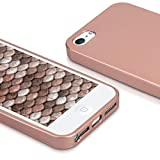 kwmobile Hülle für Apple iPhone SE / 5 / 5S – TPU Silikon Backcover Case Handy Schutzhülle – Cover Metallic Rosegold - 4