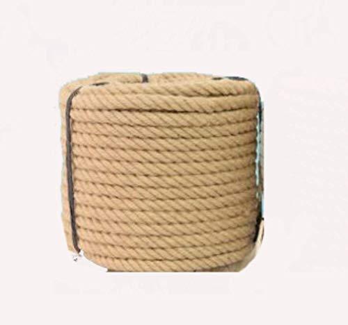 Cfbcc DPLQT 16mm Jute Corde, 3 Cordes de Jute Strand Cord Fibres Naturelles for l'artisanat Twisted Forte Corde de Chanvre, de l'artisanat Nautique, griffoir Chat, Lustre, Escalade, hamac, 22mm_5M
