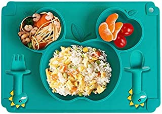 Baby Silicone Plate + Placement, Non-Slip Feeding Plate for Toddlers Babies Kids with Strong Suction Fits Most Highchair T...