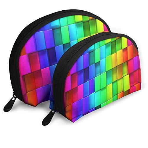 Maquillage Sac Color Blocks Rainbow Portable Shell Organisateur de Toilette Pour Filles Thanksgiving Day Gift Pack - 2