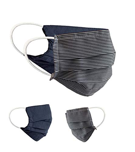 BaF 2er Pack Set Unisex Behelfsmaske Wendbar Mundschutz Maske Mund- und Nasenschutz Wendemaske mit Motiv Baumwolle BCI Waschbar, Schwarz