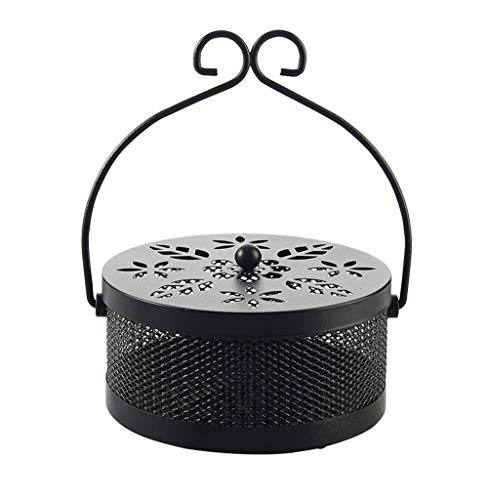 MAYITBE Mosquito Coils Box,Mosquito Coil Holder Case Portable Mosquito Coil Incense Burner Incense Holder Tray with Hollow Lid (Black)