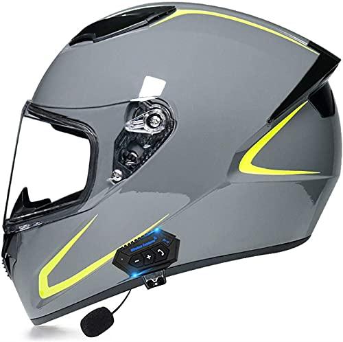 Casco Integral de Motocicletas con Auriculares Bluetooth, Motobics Modular Flip Up Double Visor Casco Casco Aprobado por ECE Casco E, XL = 59-60 CM (Color : F, Size : XL(59-60cm))