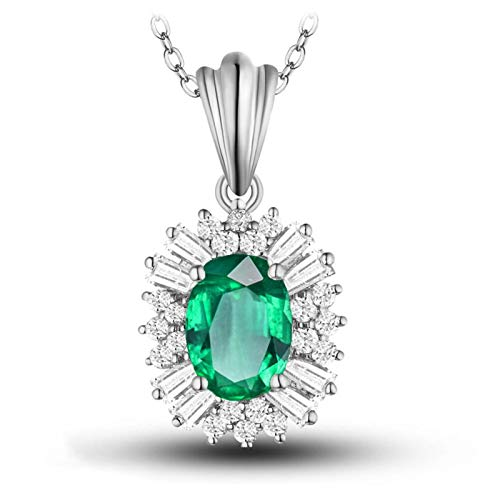 AmDxD 18K White Gold Necklace, 0.45CT Flower Emerald with Diamond Pendant...