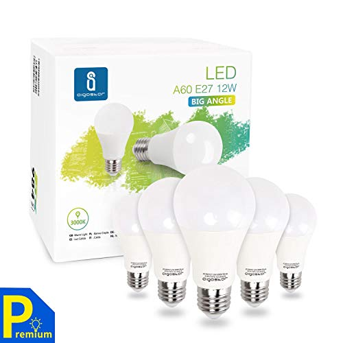 Aigostar - Bombilla LED A60 E27, 12W, 984 lúmenes, Luz calida 3000K, Ángulo 280°, no regulable - Caja de 5 unidades