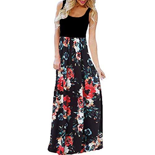 TUSANG Women Skirt Casual Sleeveless O-Neck Print Maxi Tank Long Dress Slim Fit Waist Loose Flowy Hem Dress(B-Red,US-10/CN-XL)