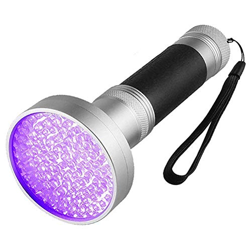 UV Flashlight 100 LED, Best Advanced Ultra Intensity 395 nm Wavelength Ultraviolet Light, Search Pet Urine Stains, Counterfeit Money, Leaks, Scorpions & Bed Bugs. Silver black light flashight