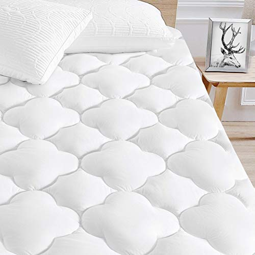 SERWALL King Waterproof Mattress Pad Cover Cooling Quilted Fitted Mattress Topper Cover Upto 8'-21' Deep Pocket- Mattress Protector Cotton Pillowtop with Hypoallergenic Down Alternative Fill