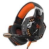 VersionTech各G2000ヘルメットヘッドセットゲーミングヘッドフォンヘッドセット快適な有線ヘッドセット3.5 mm USB LEDゲーミングヘッドフォンヘッドセット(PC用)ゲーマーヘッドセットヘッドフォンゲーム - オレンジとブラック