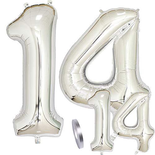zooting Luftballons Zahl 14 Geburtstag XXL Silber - Riesen Folienballon Figuren in 2 Größen 40