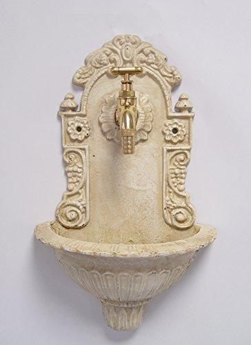 Deko Wandbrunnen Zimmerbrunnen mit Hahn Becken Brunnen antik weiß Gußeisen 24x39cm