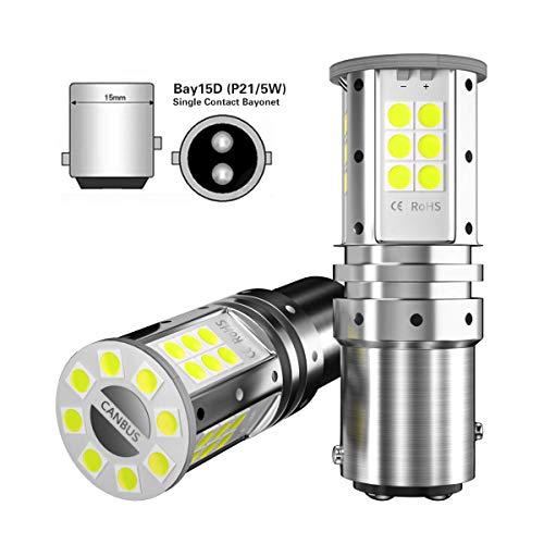 2pcs 1157 BAY15D bombillas led p21/5w led canbus para coche motocicleta luz de marcha atrás luz de freno trasera luz de señal 2057 2357 3030 32SMD 12V 24V 6000k blanco