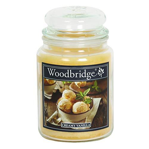 Woodbridge 2-Docht Duftkerze im Glas mit Deckel - Creamy Vanilla (565g) - Der süße Duft für Dein Zuhause - Ganzjährige Kerze - bis zu 130 Stunden Brenndauer