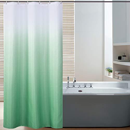Bermino Duschvorhang aus strukturiertem Stoff, Ombre-Duschvorhang für Badezimmer mit 12 Haken, 91,4 x 182,9 cm, Hellgrün Farbverlauf
