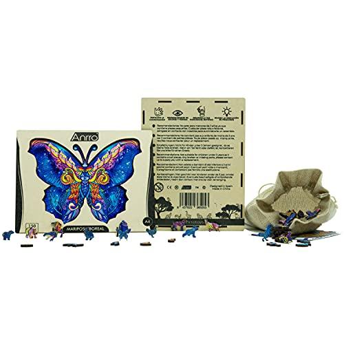 Puzzle de Madera Animales para Adultos, Tamaño A4, Incluye Poster - Rompecabezas para niños | Pasatiempos Familiar (Mariposa Boreal) 150 Piezas