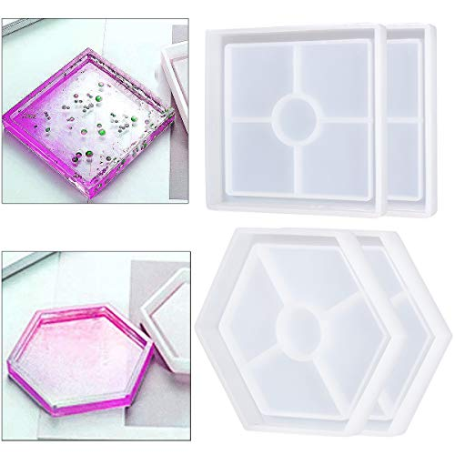ANPHSIN 4 Pack DIY Coaster Silicone Molds- Hexagon and Square Shaped Resin Epoxy Molds for Casting with Resin, Cement, Concrete Home Decoration DIY Craft