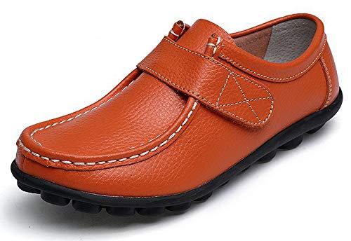 Yooeen Damen Mokassins Bootsschuhe Leder Arbeitsschuhe Freizeit Flache Loafers Halbschuhe Fahren Sandalen Klettverschluss Erbsenschuhe 41 EU (Ettikettengrosse - 42 EU)