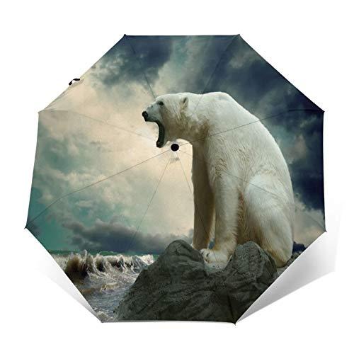 TISAGUER Paraguas automático de Apertura/Cierre,Animales Naturaleza Osos Polares,Paraguas pequeño Plegable a Prueba...