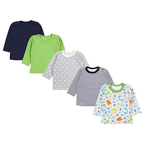 TupTam Baby Jungen Langarmshirt Gestreift 5er Set, Farbe: Mehrfarbig 4, Größe: 74